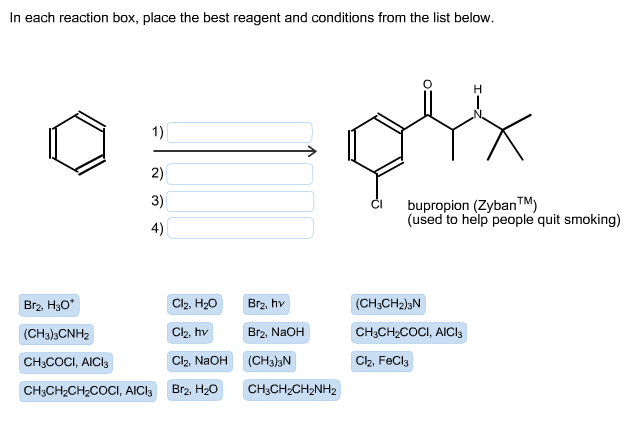 in each reaction box, place the best reagent and conditions from the list below.